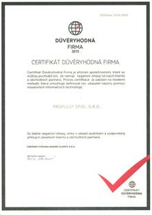 Certifikát Důveryhodná firma