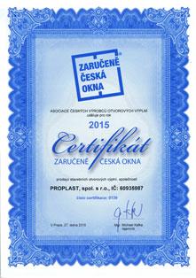 Certifikát Zaručeně Česká okna